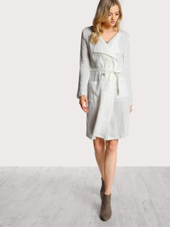 Solid Lightweight Trench Coat WHITE