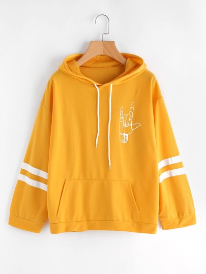 Hand Print Varsity Striped Kangaroo Pocket Hoodie