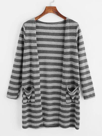 Contrast Stripe Dual Pocket Cardigan