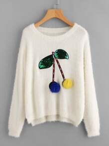 Sequined Pom Pom Cherry Sweater