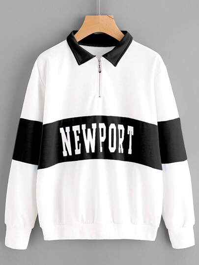 Sweat-shirt color-block imprimé des lettres