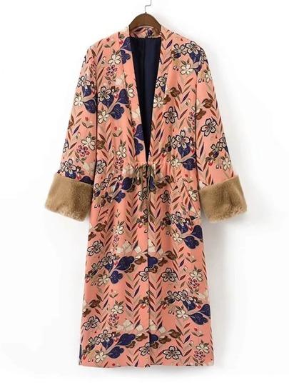 Kimono largo de espalda con abertura de puño con pelo sintético en contraste