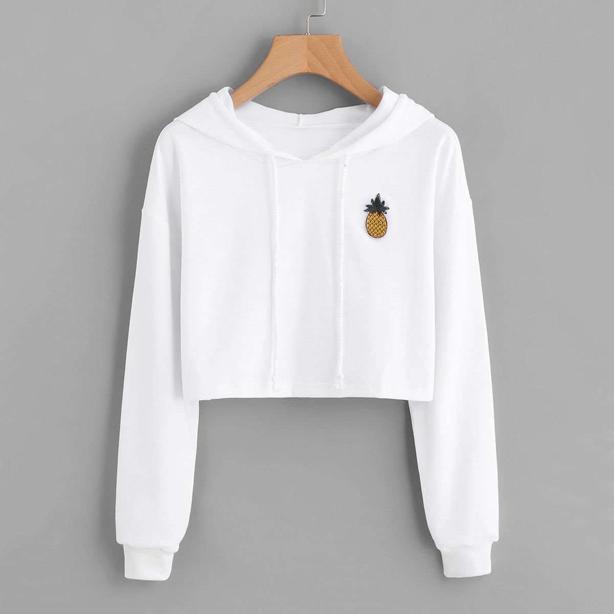 Crop hoodie met ananassenprint