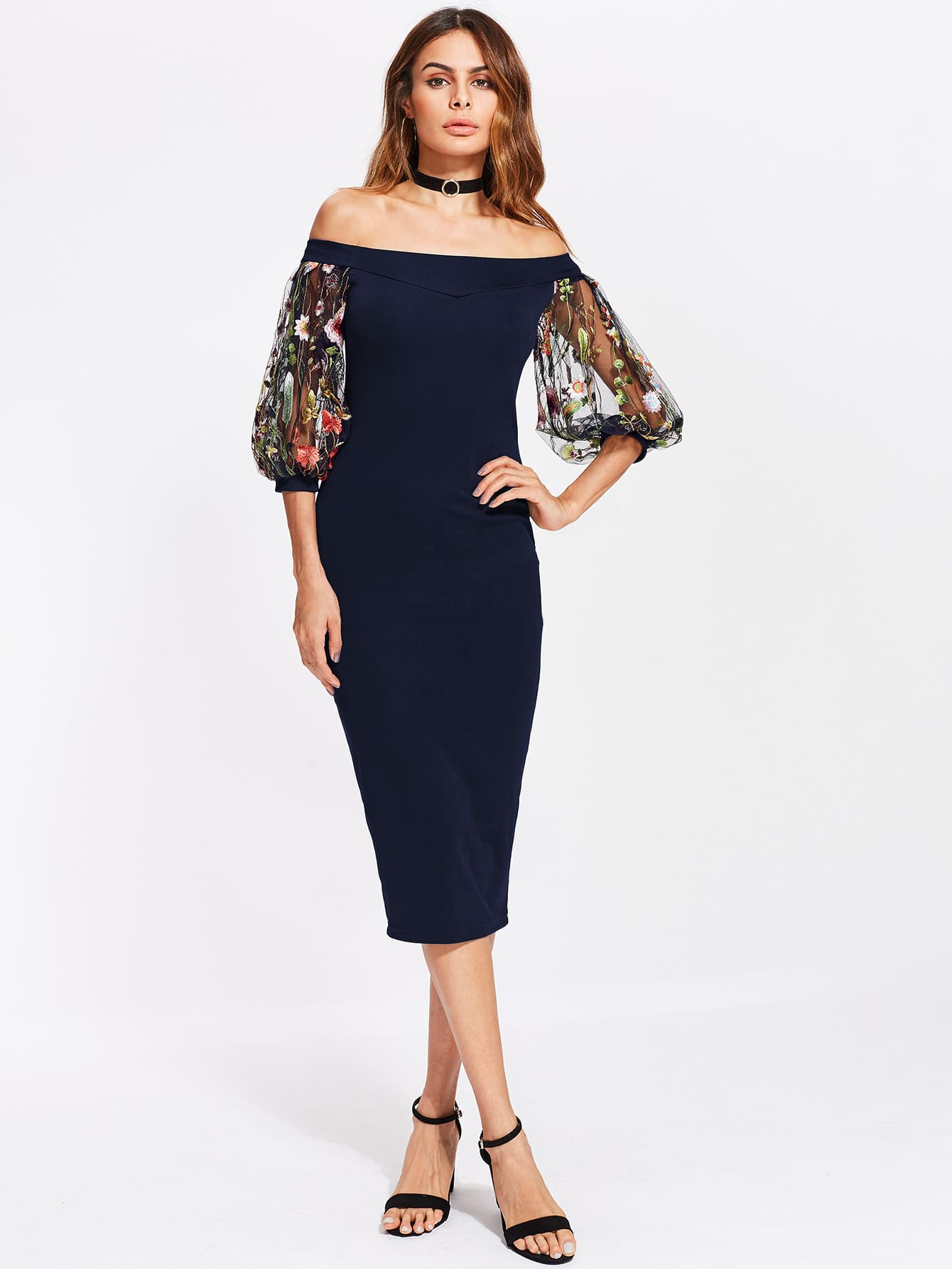 Bardot Dress With Embroidered Mesh Puff Sleeve nuit w edp spr