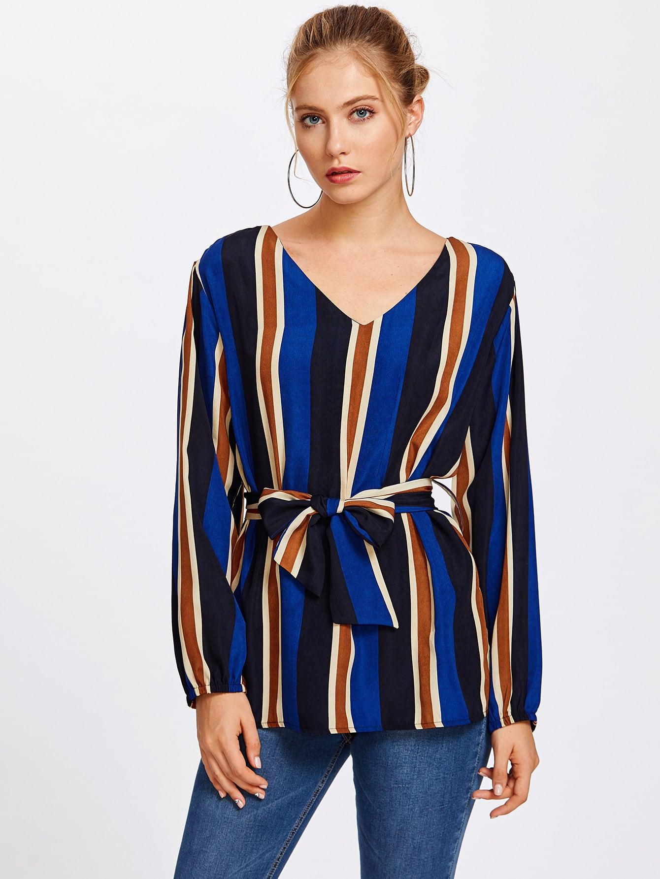 V Neckline Striped Blouse With Belt boat neckline striped blouse with buttons