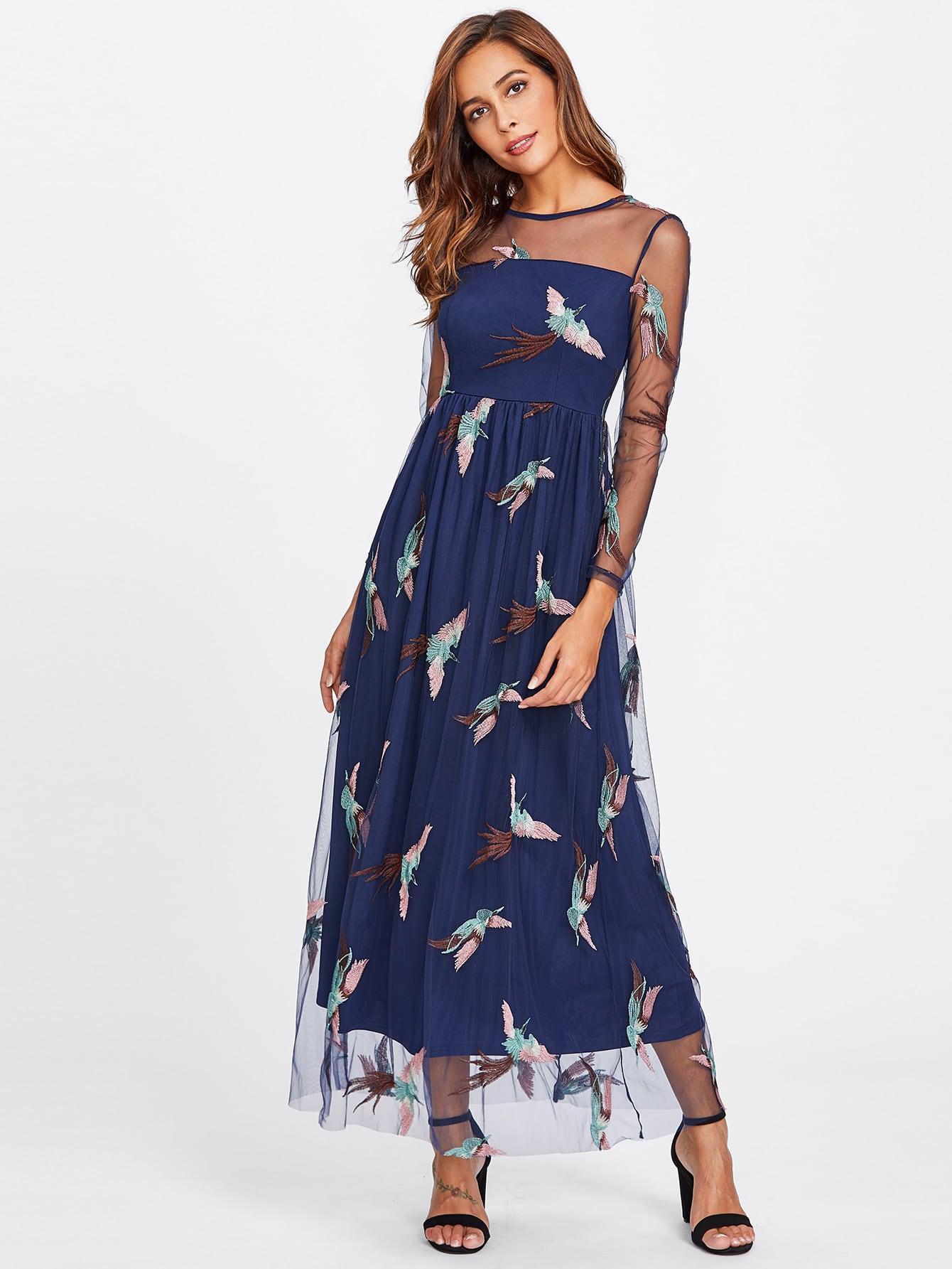 Купить Модное платье с вышивкой и сетчатой вставкой, Giulia, SheIn
