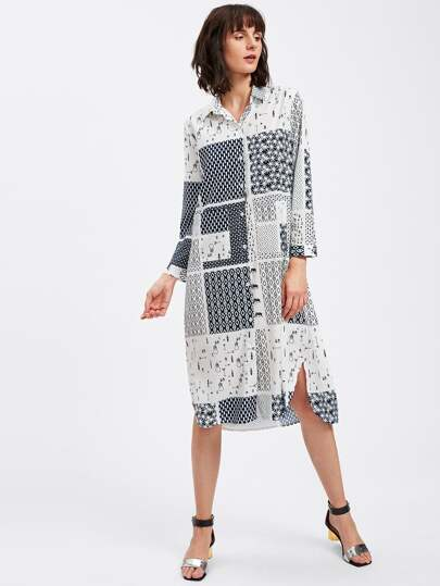 Allover Printed Random Side Split Shirt Dress