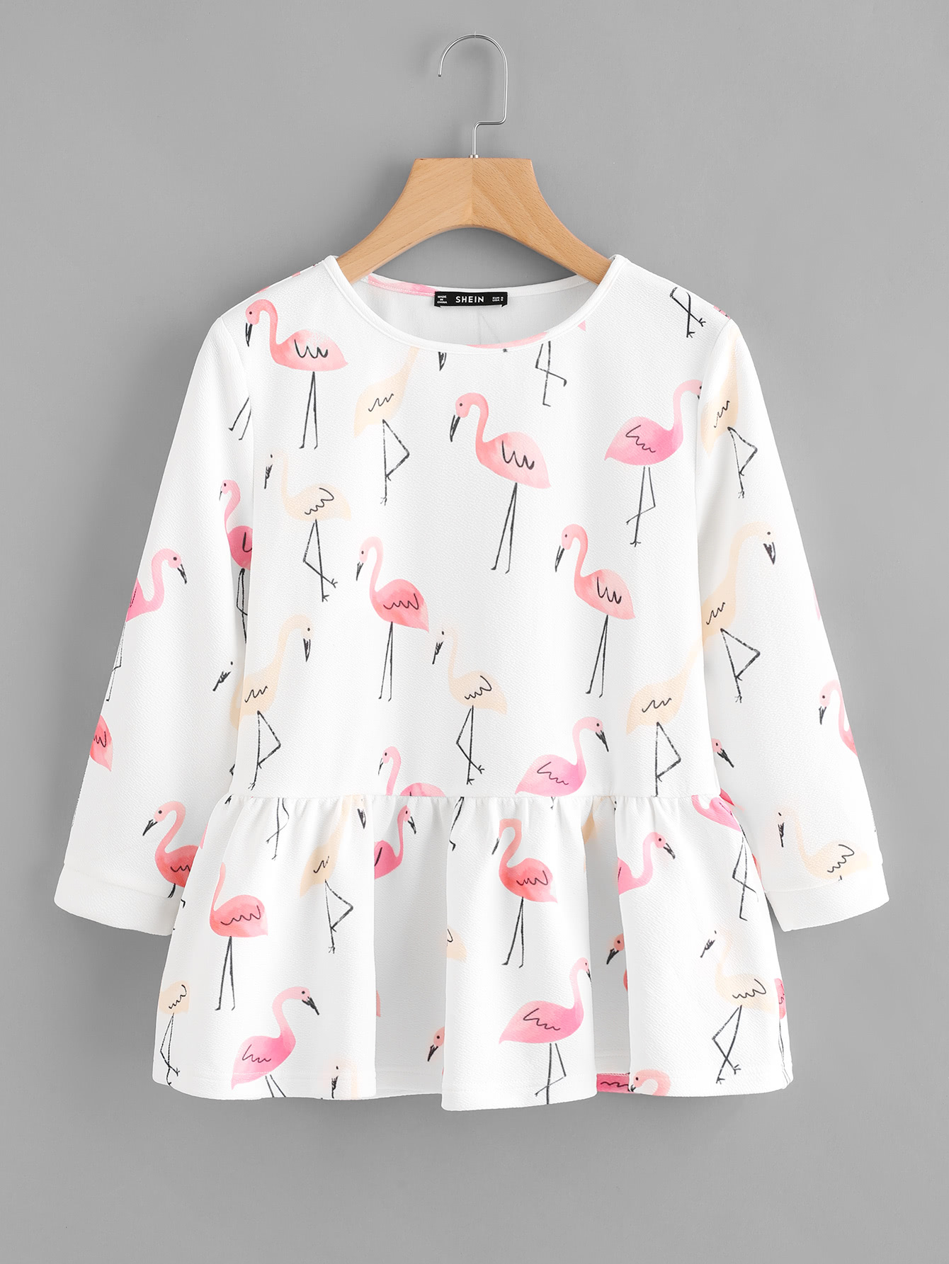 Allover Flamingo Print Smock Top allover flamingo print tee