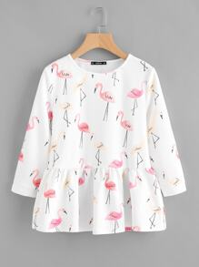 Allover Flamingo Print Smock Top