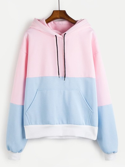 Color Block Kangaroo Pocket Hoodie