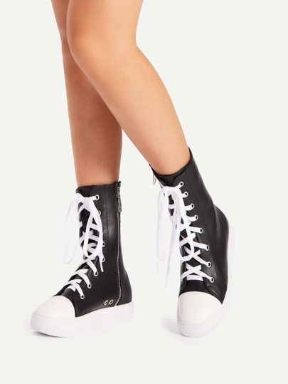 Lace Up Flatform Faux Leather Boots