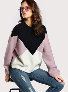 Colorblock Geo Pullover Sweater BLACK