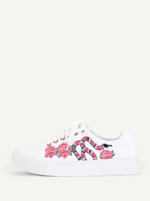 Snake & Flower Embroidery Lace Up Sneakers