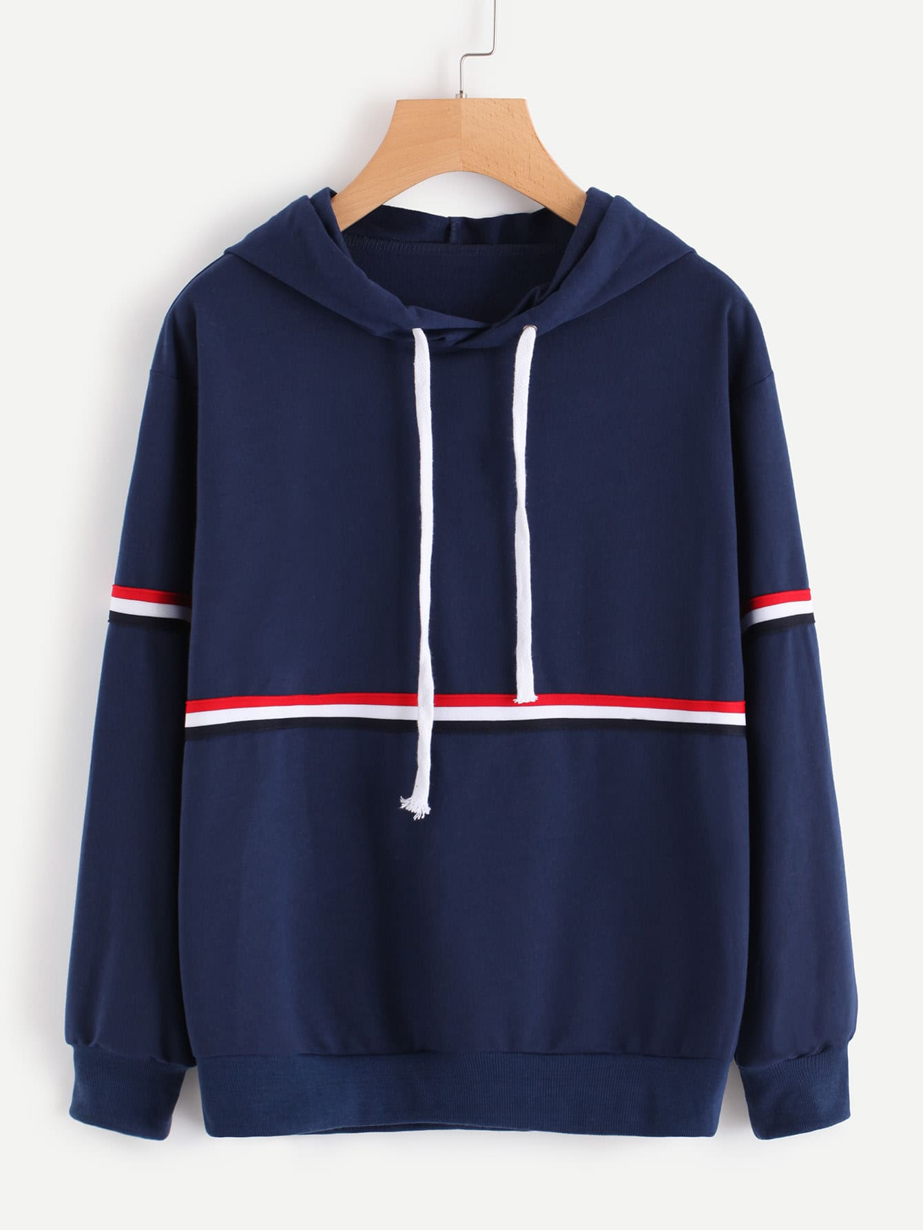 Striped Tape Detail Hoodie striped tape detail two tone sweatshirt