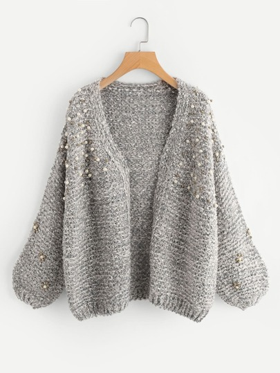 Pearl Beading Open Front Cardigan