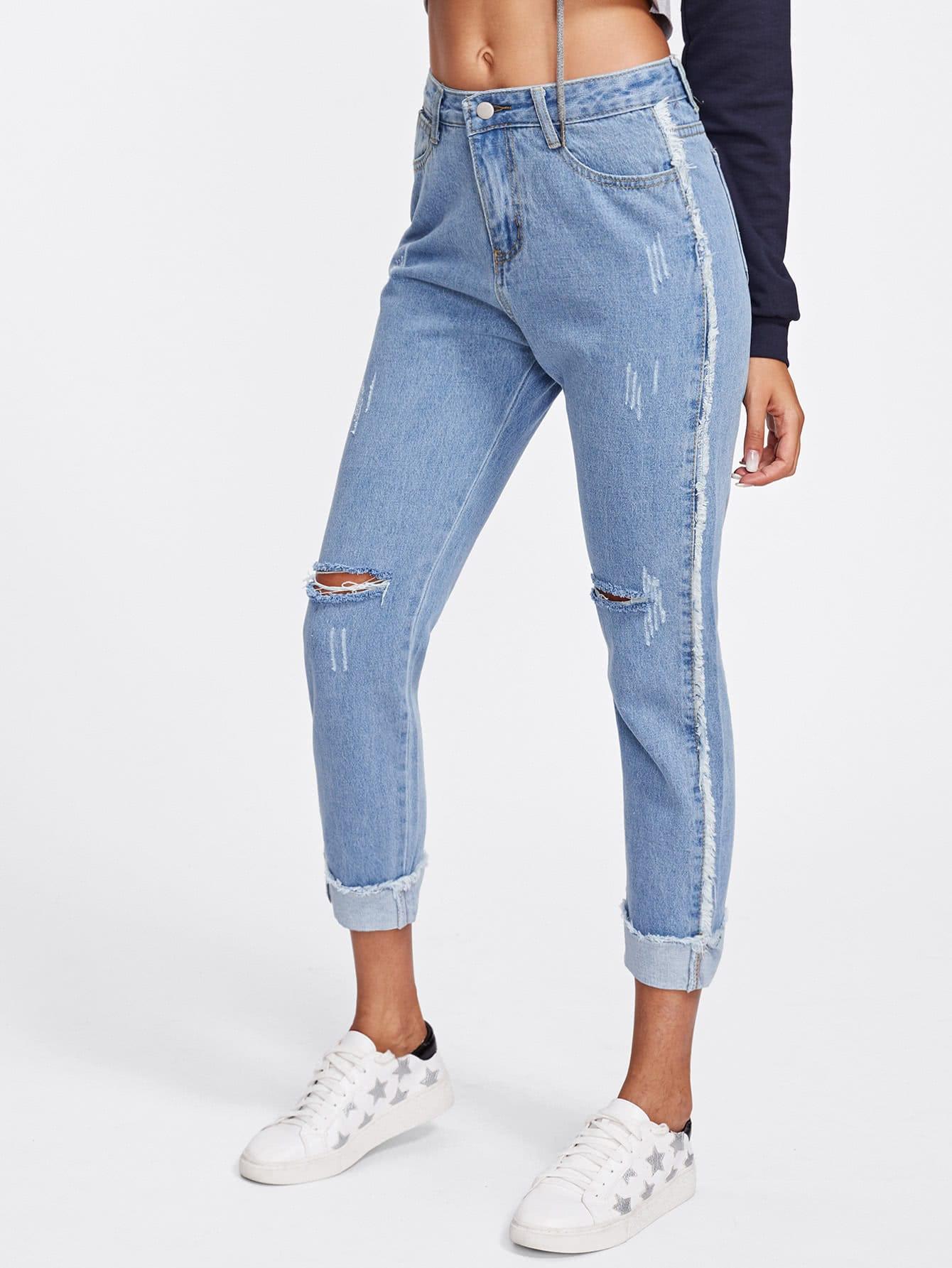 Knee Rips Rolled Hem Jeans solid rolled hem pants