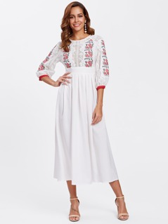 Embroidered Panel Lace Bodice Box Pleated Dress