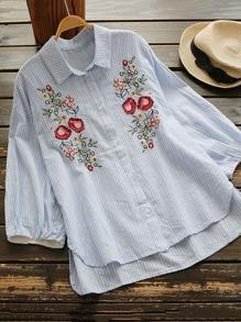 Floral Embroidered Striped Dip Hem Shirt
