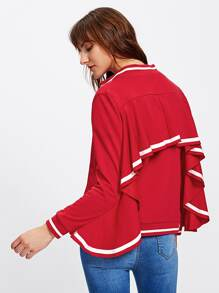 Striped Flounce Trim Jersey Bomber Jacket