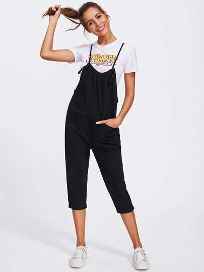 Self Tie Crop Pinafore Jumpsuit