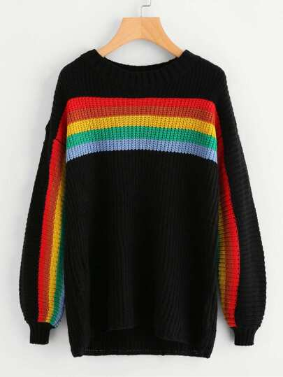 Lantern Sleeve Rainbow Striped Jumper