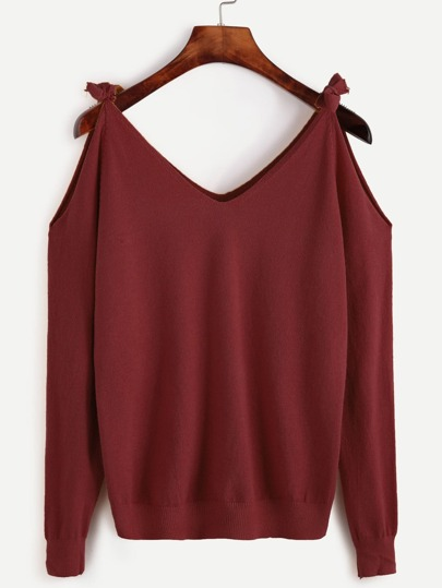 Self Tie Open Shoulder Sweater