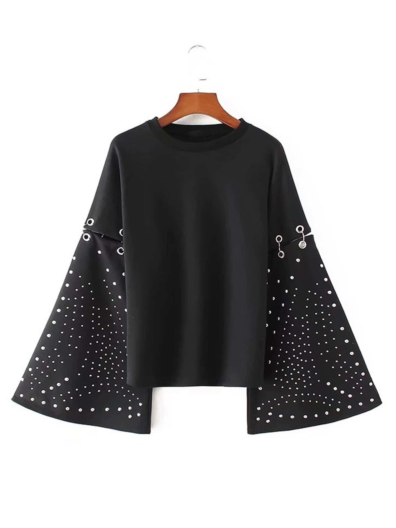 Studded Detail Oversized Sleeve Ring Linked Sweatshirt frill sleeve tape detail sweatshirt