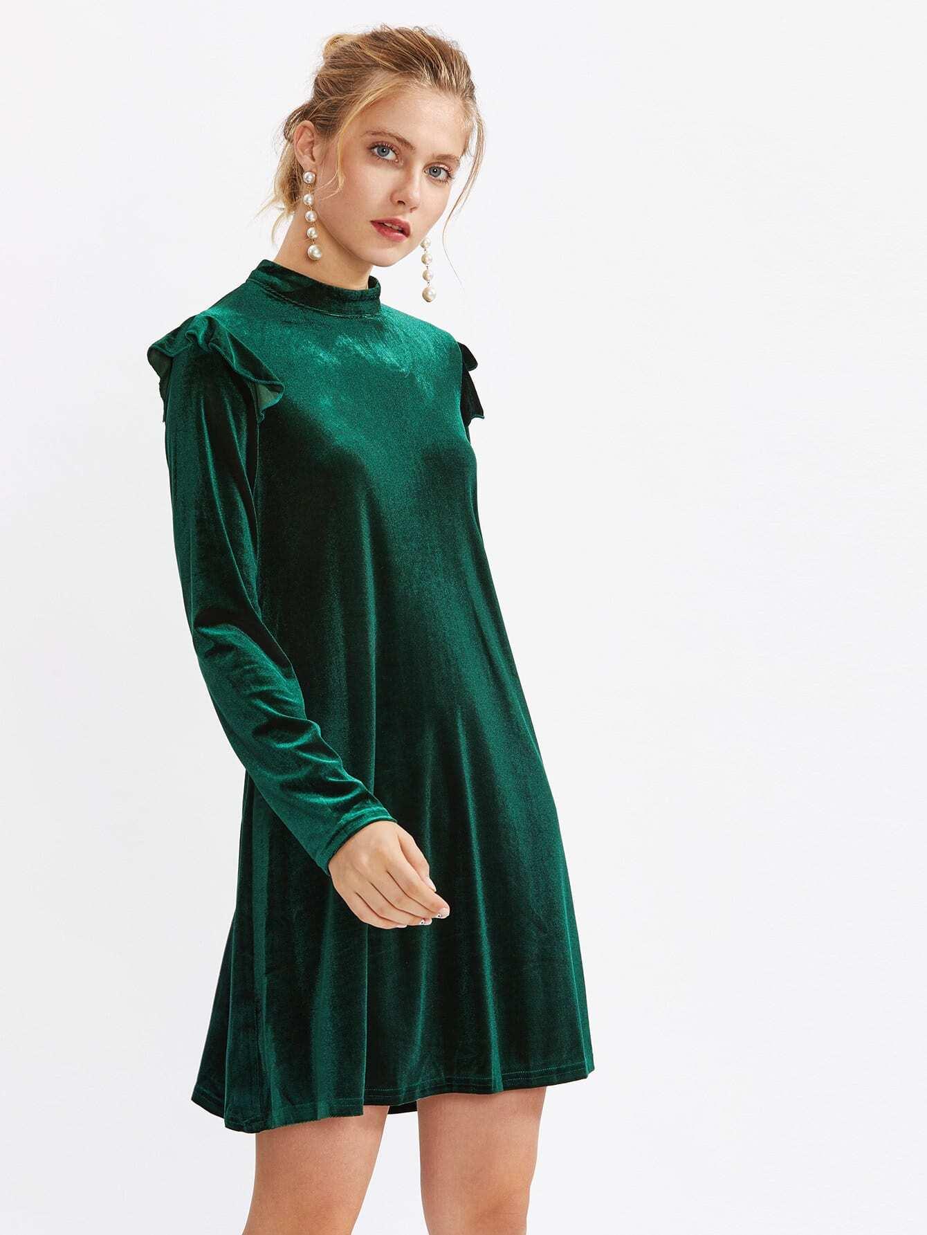 Mock Neck Frill Detail Velvet Dress frill detail bishop sleeve tiered botanical dress
