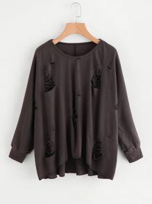 Destroyed Dip Hem Knit Sweater