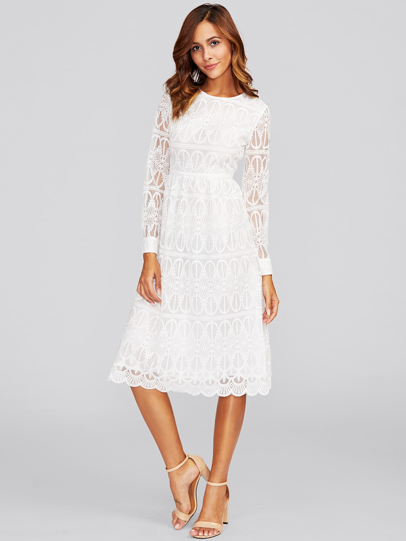 Scallop Hem Embroidered Mesh Overlay Dress ruffle waist zip back scallop hem embroidered gingham skirt
