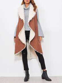 Shawl Collar Curved Faux Shearling Vest
