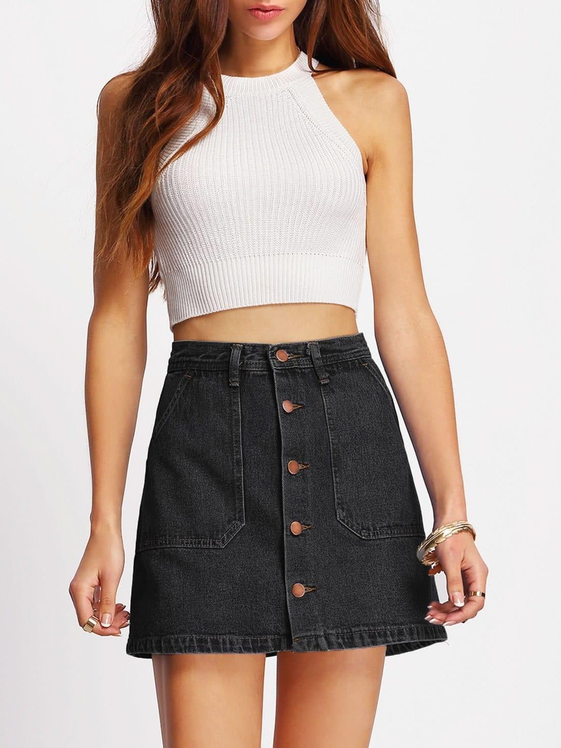 Image of A-line Button Through Denim Skirt