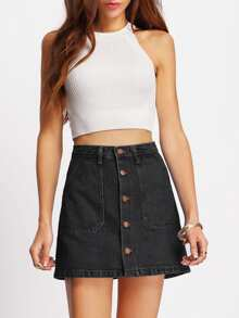 A-line Button Through Denim Skirt