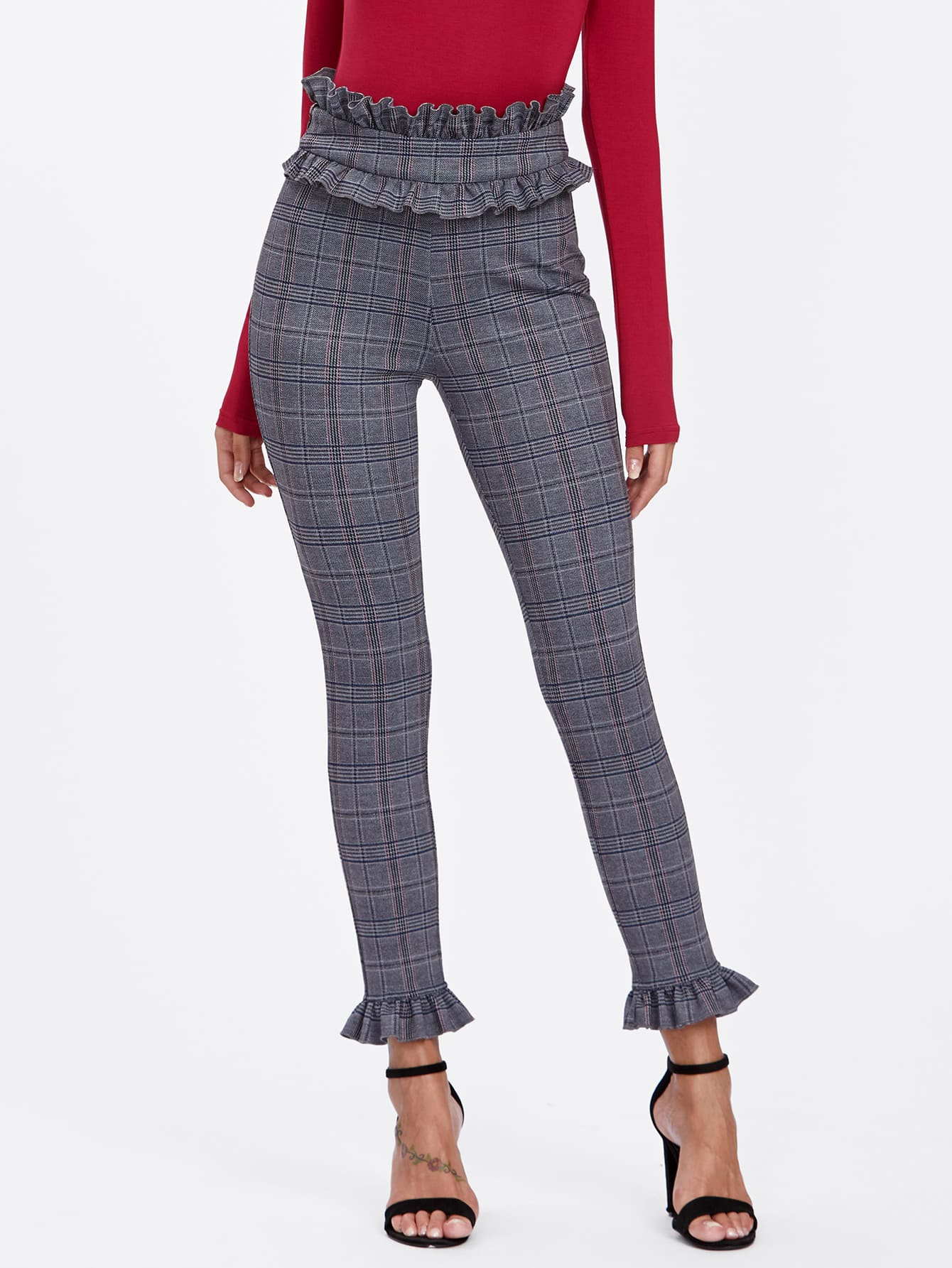Ruffle Waist And Hem Plaid Skinny Pants