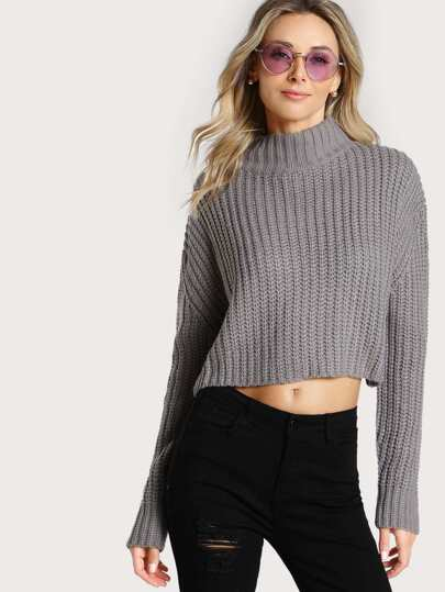Turtleneck Ribbed Long Sleeve Top GREY