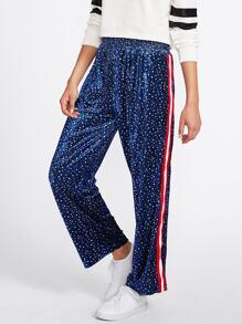 Striped Tape Side Star Print Velvet Pants