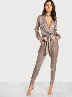 Satin Cross Front Jumpsuit MINK