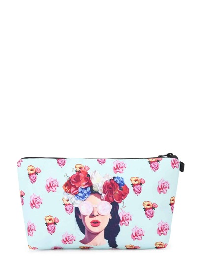 Flower Print Zipper Pouch