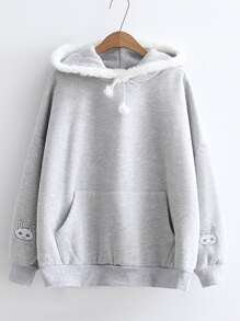Faux Fur Trim Rabbit Embroidery Hoodie