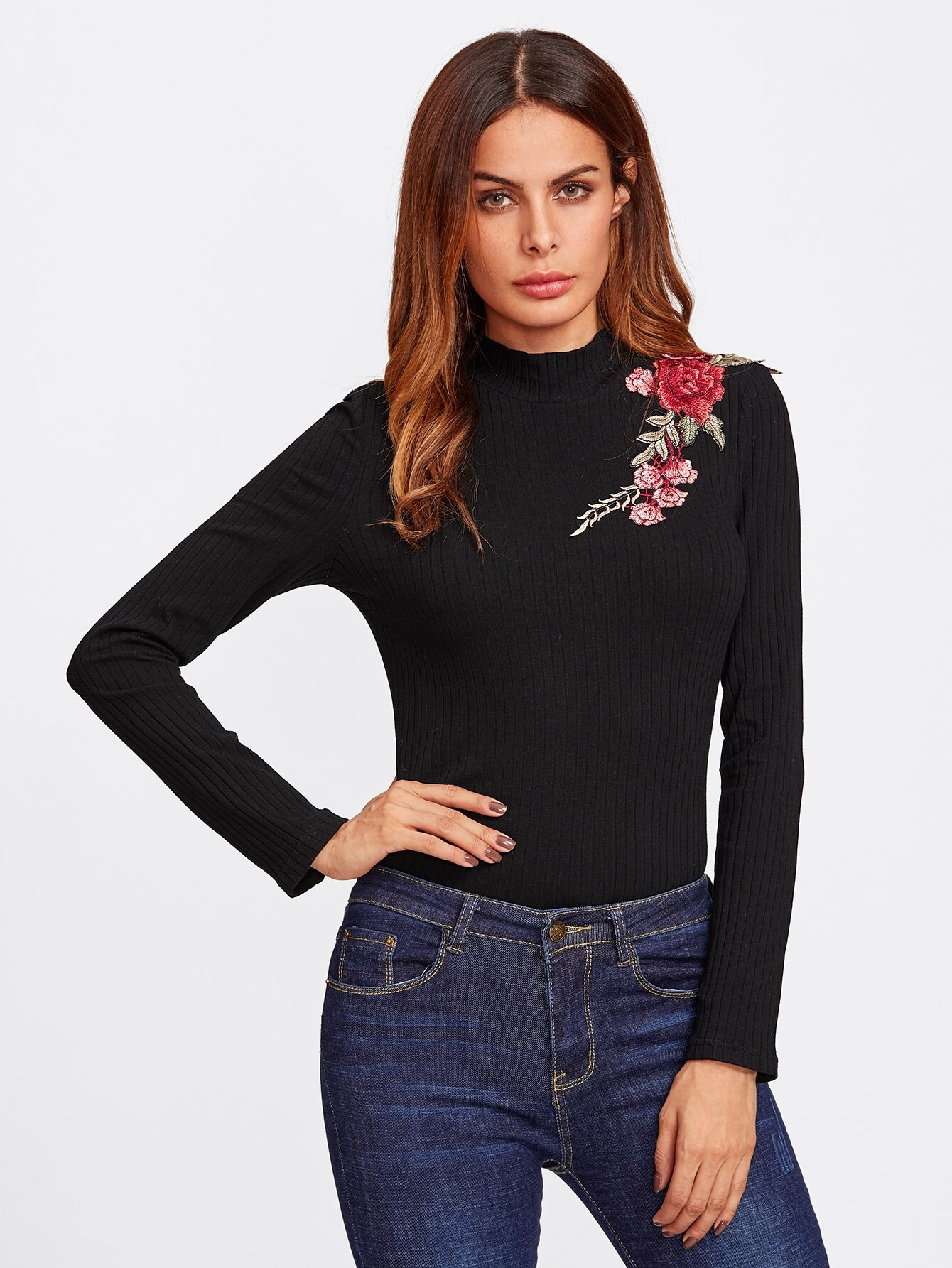 Embroidered Patch Ribbed Knit Tee letter embroidered ribbed knit top