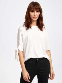 Geo Lace Panel Tied Cuff Top