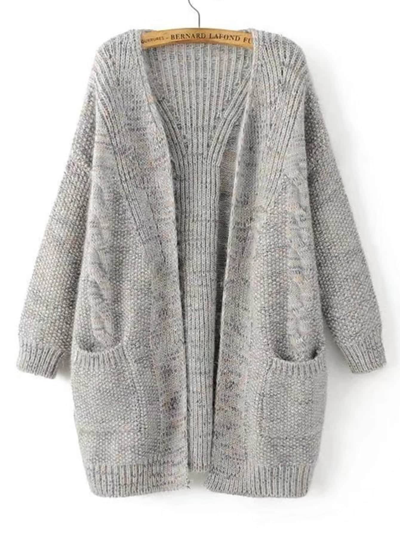 Open Front Cable Knit Cardigan -SheIn(Sheinside)