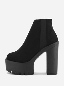 Platform Block Heeled Ankle Boots