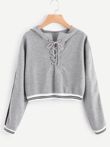 Eyelet Lace Up Stripe Trim Hoodie