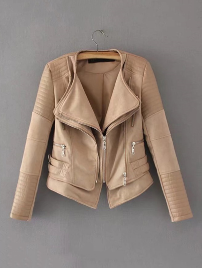 Zipper Detail Quilted PU Jacket
