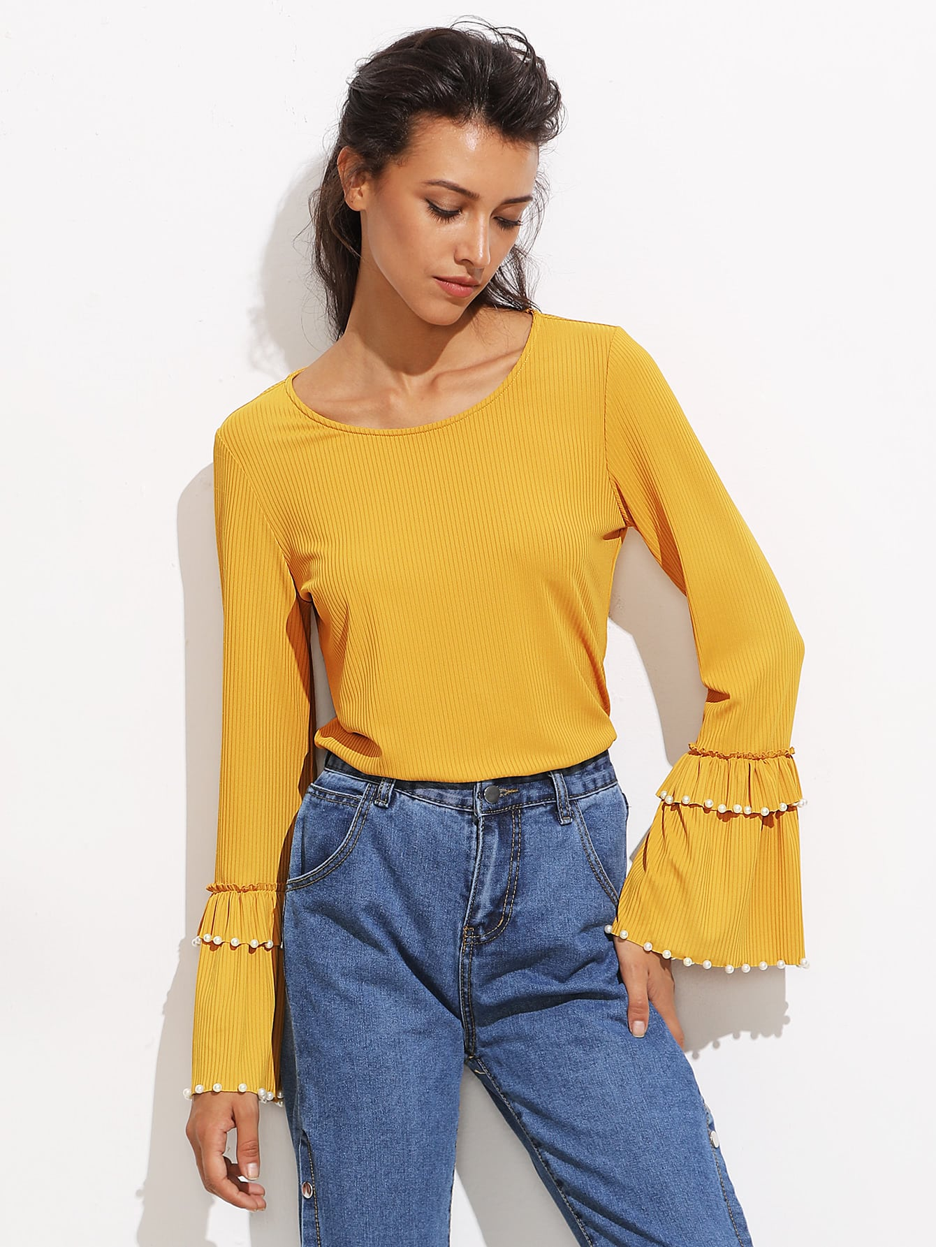 Pearl Beading Layered Bell Cuff Ribbed Top pearl beading layered sleeve top