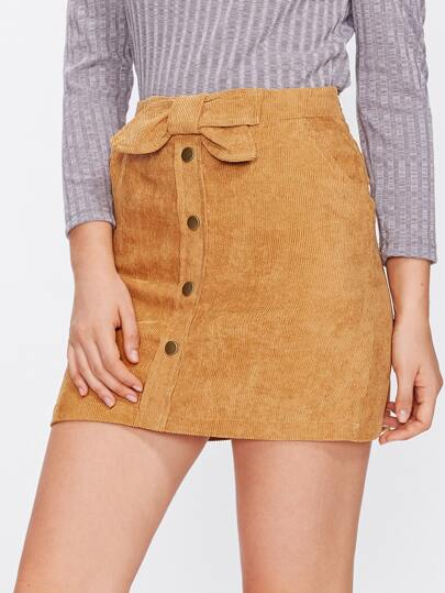 Corduroy Single Breasted Bow Front Skirt