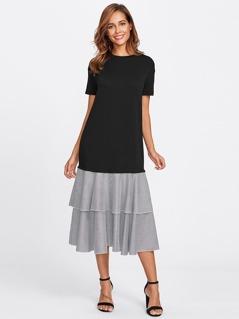 Layered Striped Flounce Trim Mixed Media Dress