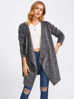 Drape Collar Fluffy Coat
