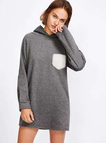 Rabbit Ears Hooded Sweatshirt Dress With Patch Pocket